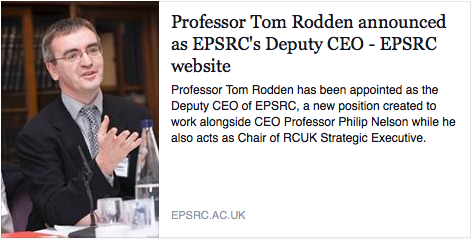 Professor Tom Rodden announced as EPSRC's Deputy CEO