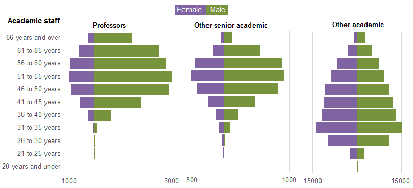 HESA academic staff gender balance: profs vs senior vs other academic