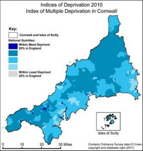 map of areas with high indices of multiple deprivation in Cornwall